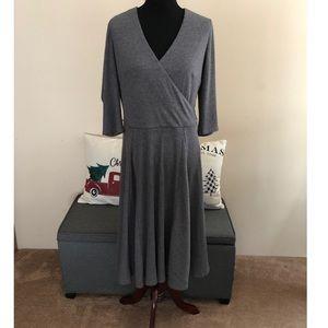 Dressbarn Grey Ribbed Knit Faux Wrap Dress Size 16
